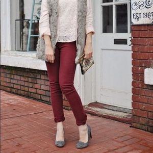 CAbi #200 Rhubard Ruby Skinny Cords Pants 12